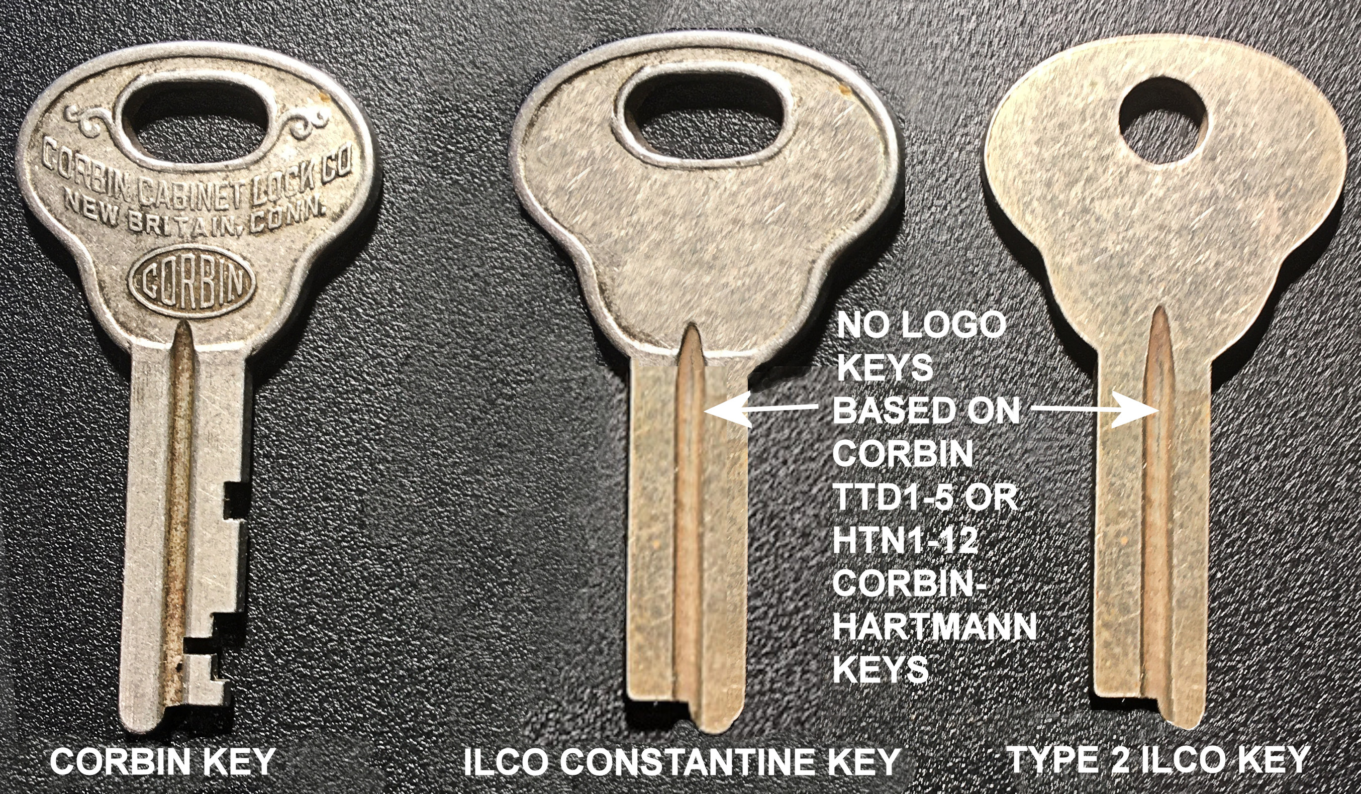 CORBIN LOGO AND TWO ILCO NO LOGO BLANK KEYS- ONE WITH OVAL AND RIDGE- OTHER WITHOUT OVAL AND R...jpg