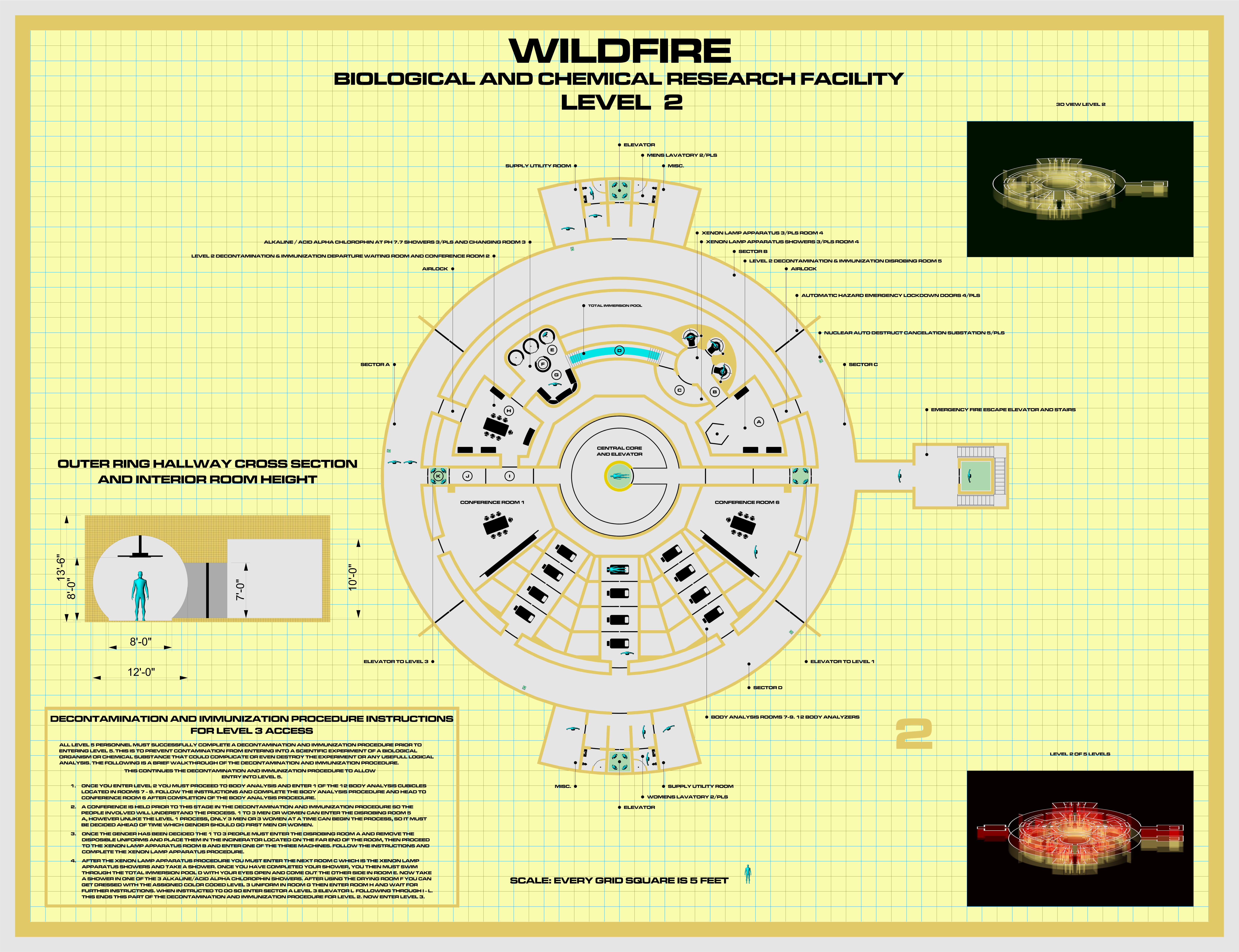 the andromeda strain wildfire complex (fan made) rpf costume and Andromeda Strain 2009 my concept version of the layout of the secret underground labs of the wildfire complex from the 1971 movie the andromeda strain