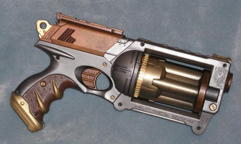 A Nerf gun with modified steampunk paint job. (not for sale)