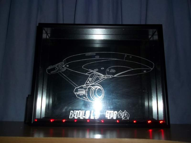 Biggest project in my glass etch that I've ever done so far. HUGE 11x14 shadow box with custom cut mirror inside, with the Enterprise from Star Trek.