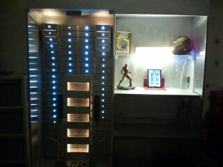 Display case with shelving attached.