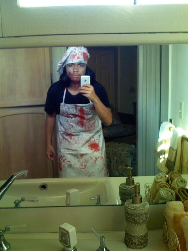Halloween 2007 - Some demented butcher. Modified a pencil to look like a meat cleaver to write with in school, sadly no pics of it.