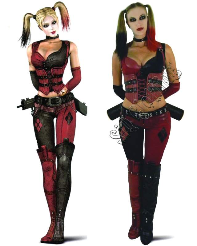 Harley Quinn Arkham City Costume 2011. Matte vinyl fabric. Side by side pose