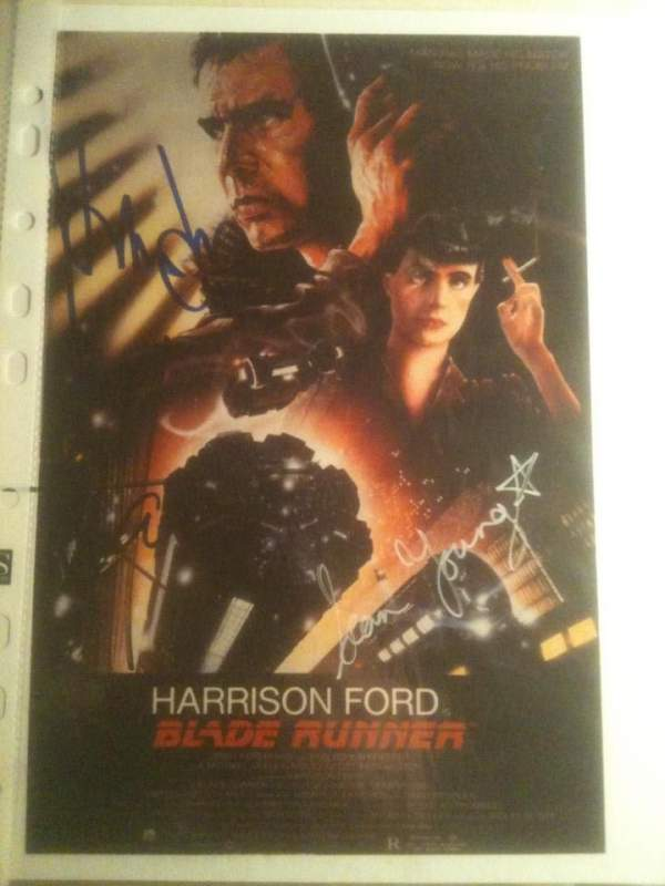 Harrison Ford & Sean Young - Yes I know its not RedDwarf but its my favourite bought from reputable Autograph house with COA