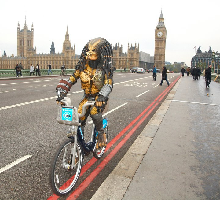 I like to ride my bicycle I like to ride my bike. Promoting the release of Predators on DVD/Blu Ray in the UK for Twentieth Century Fox.