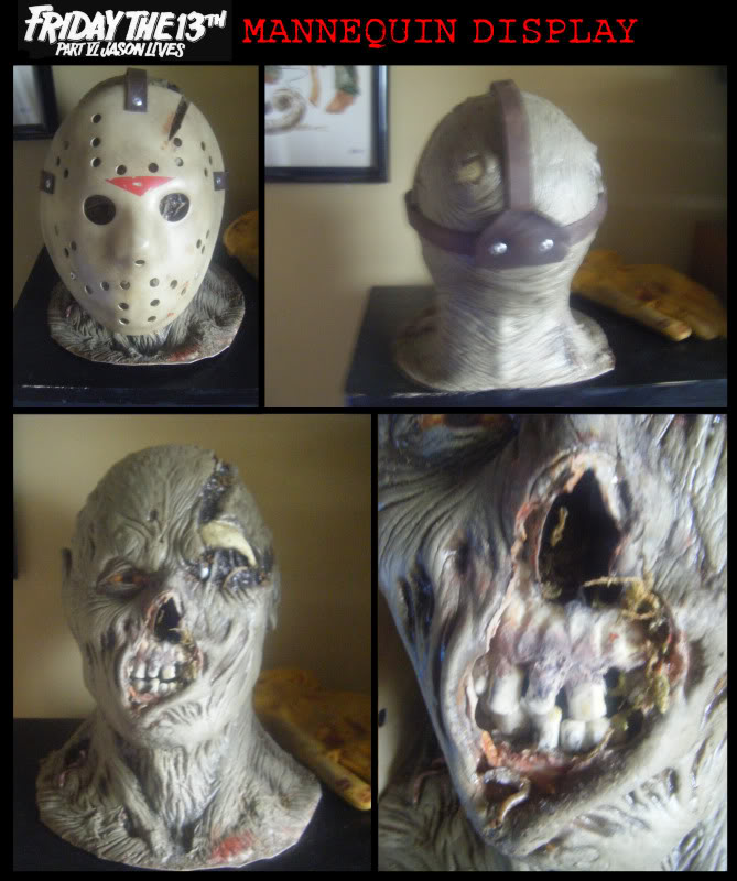 jason bust - head section - Crash mask, modified Nightowl mask. Cur of the rubber skyll and added a model skull. Added Moss & worms and shallacked mag
