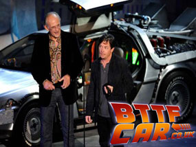 Michael J Fox and Christopher Lloyd Back to the Future Delorean Time Machine Hire at the Scream Awards 2010