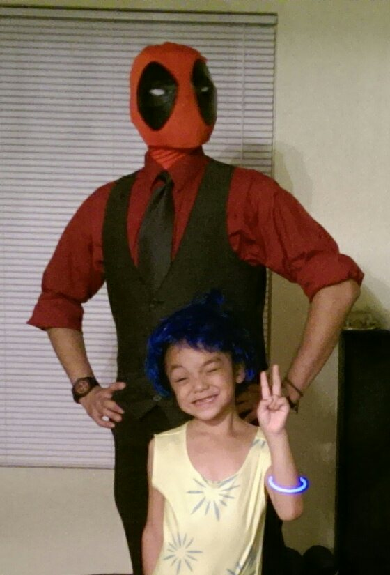 My daughter wanted to be Joy from inside out, she wanted me to dress up as anger but as a dad version of anger so, in exchange I dressed up as Dad-Dea