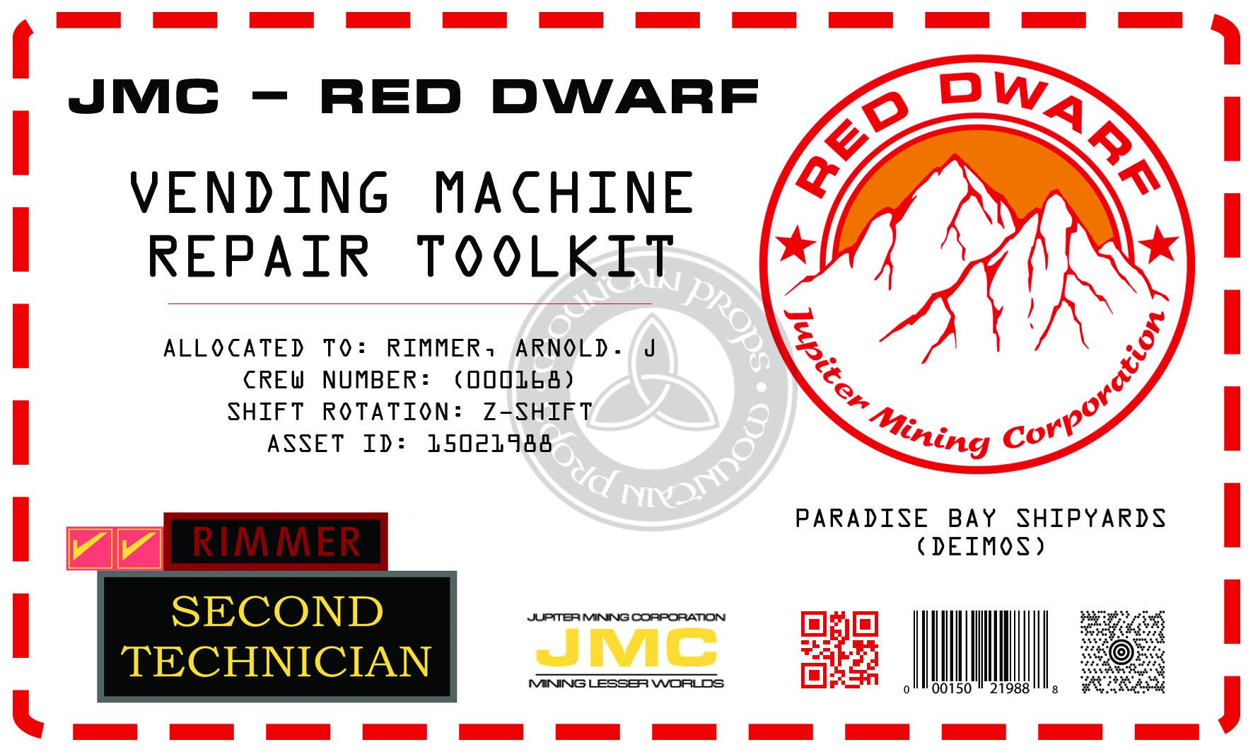 Red Dwarf Vending Machine repair kit sticker | RPF Costume and Prop