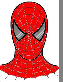 Spidey Face that I colored from a coloring page I found on google.