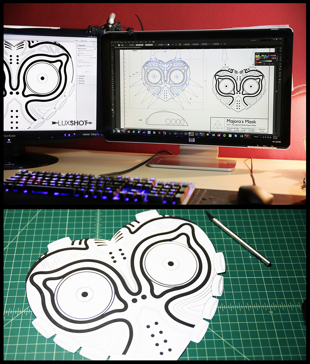 This is how it all started. I drew up my blueprint in Adobe Illustrator with all the details and dimensions of the mask. Once I had it printed to scal