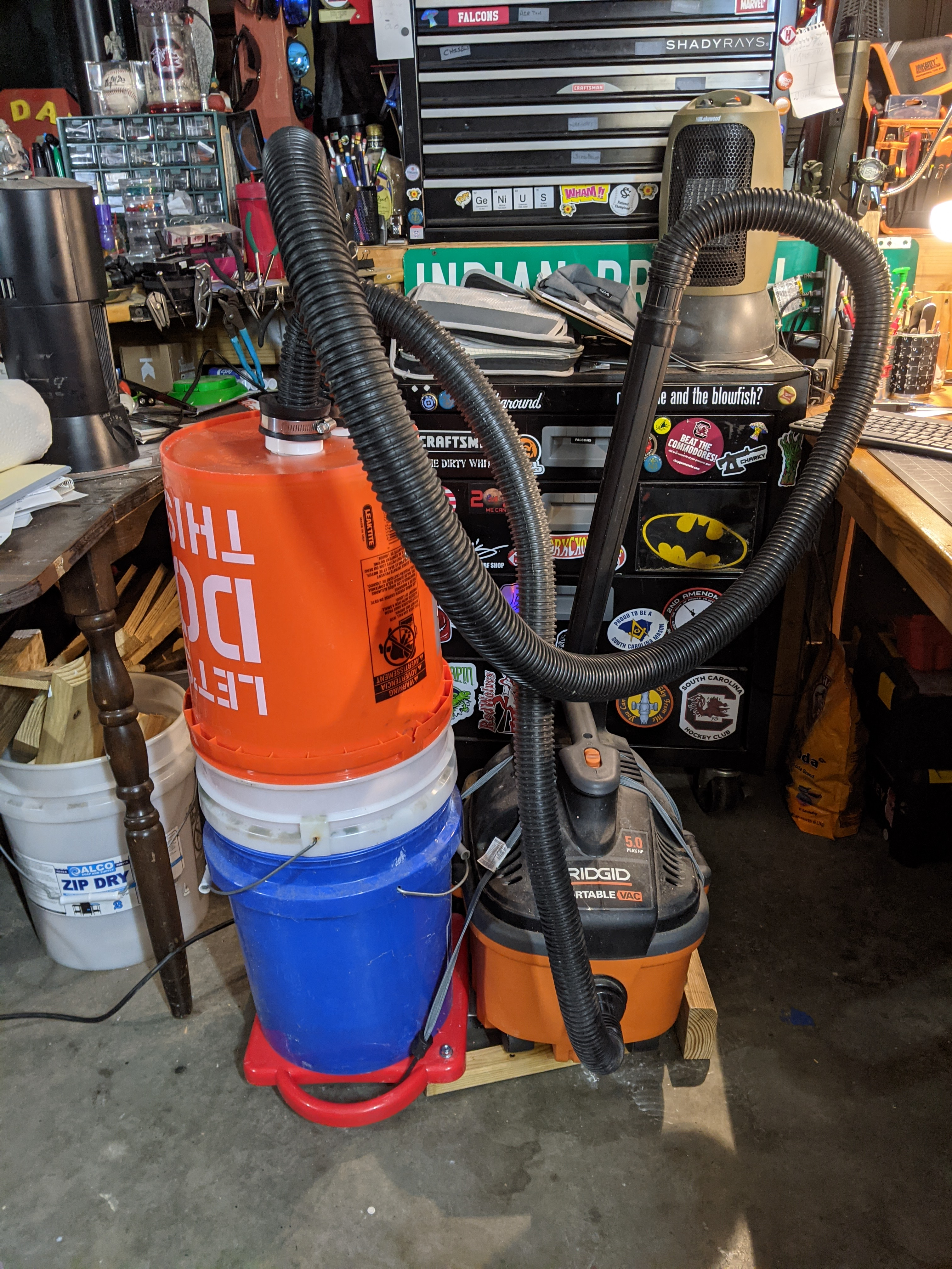 Ugly, but effective shop vac dust separator.