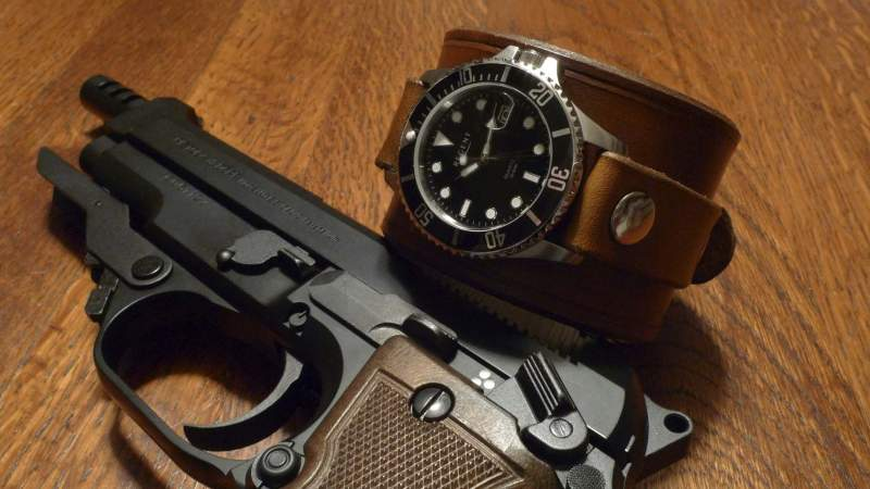 Uncharted 3 leather wrist cuff and watch