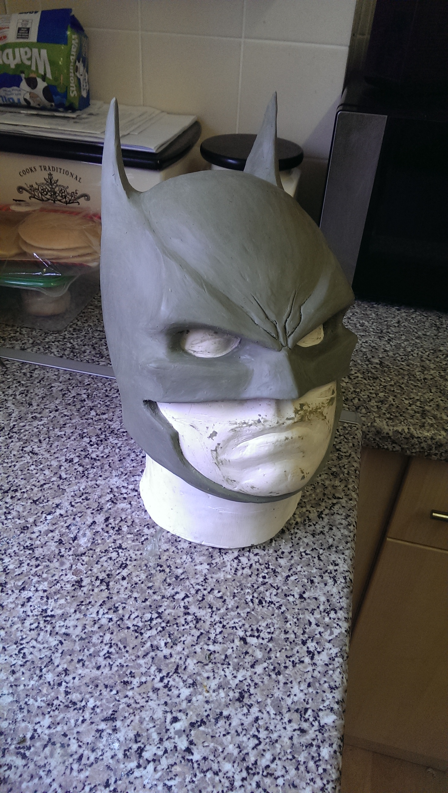 week 2, a little refining and trying to put a little character into the mask, the arkham origins mask was a big inspiration.